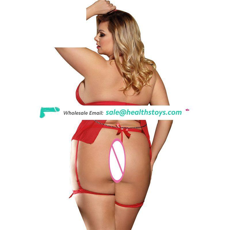 Box Package Good Quality Sexy Red Women Sheer Lingerie Set