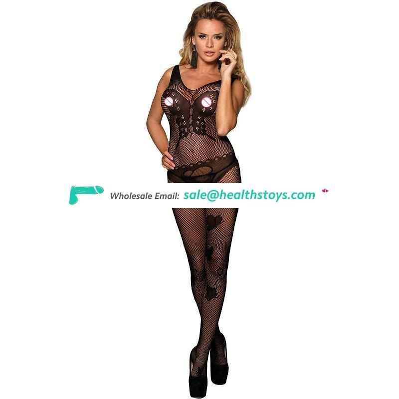 Butterfly pattern black sheer bodystocking crotchless