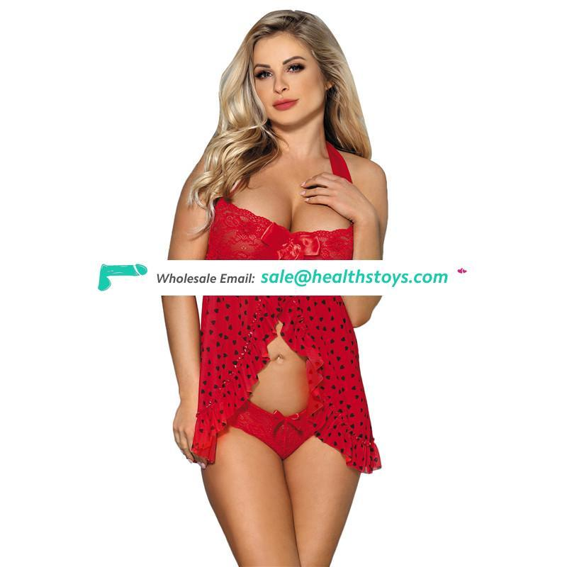 In Stock Wholesale Factory Price Red Girls Sex Sleeping Dress