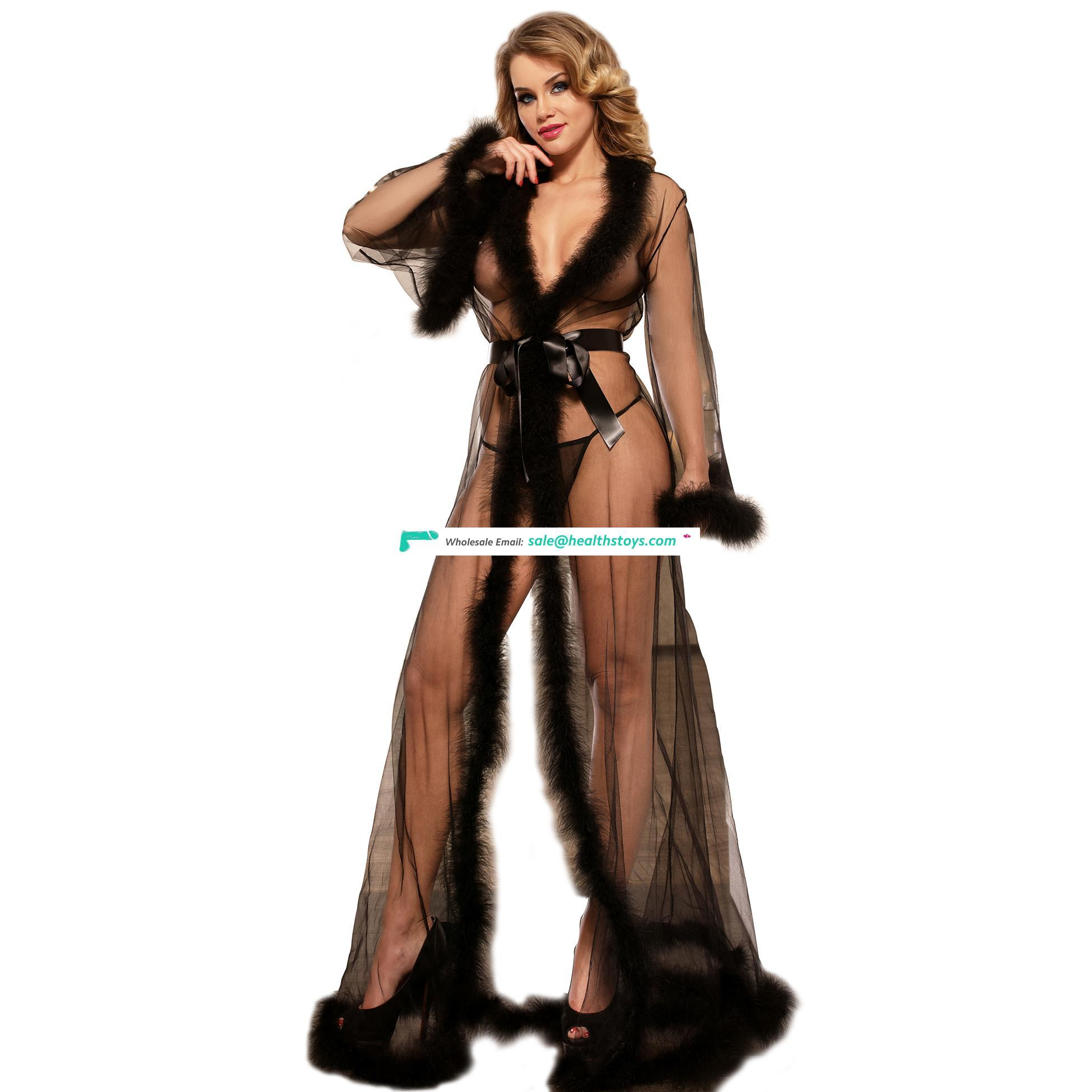 In stock fast delivery fur black night sleeping dress for women