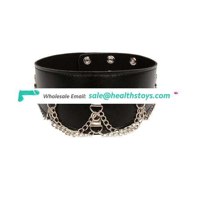 Leather Flirting Collar Neck Fetish Bondage Slave Restraint Erotic Toys For Couples