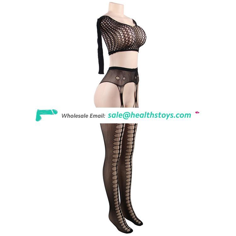 Plus size fat women long sleeve black fashion nylon fishnet transparent bodystocking