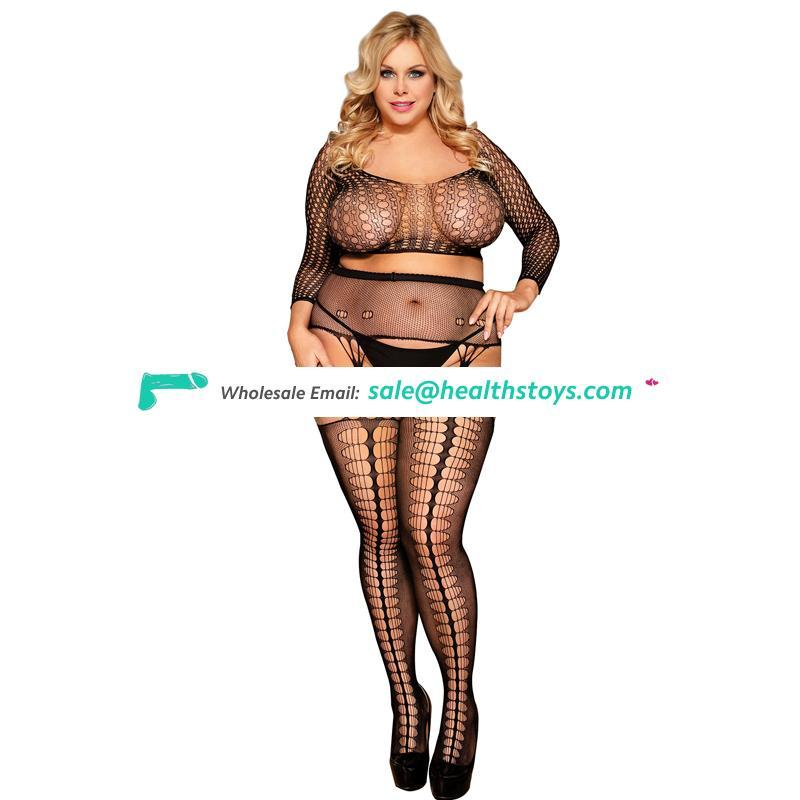 Plus size girls sheer sex nylon bodystocking