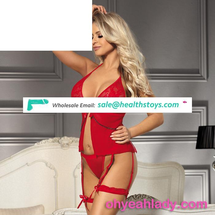 Red sheer mesh lingerie young girls sexy babydoll