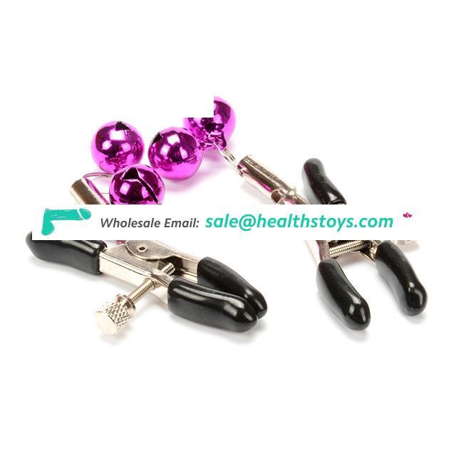 Stainless Double Purple Bells Nipple Clamps Erotic Toys Novelty Adult Games