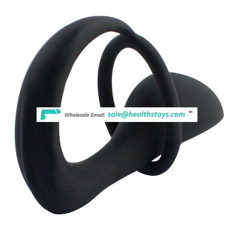 Winyi Black Soft Silicone Prostate Stimulation Anal Plug With Cock Ring