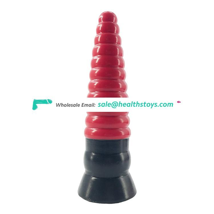 "FAAK 23cm 9"" 5cm big silicone dildo realistic anal plug hot red and black color new butt plug sex toys anal for sexual pleasure"