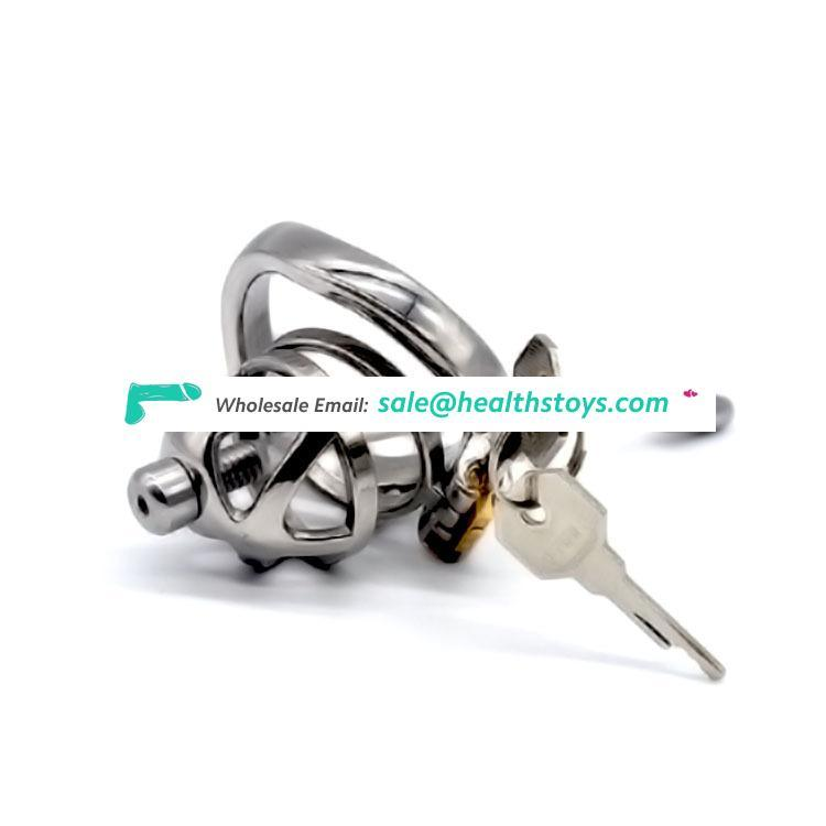 FAAK 51mm curved ring 304stainless steel chastity device with catheter chastity cage metal penis cage for male  SM sex products