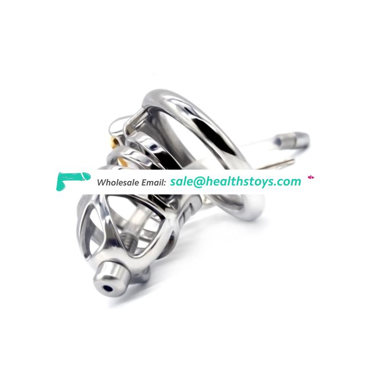 FAAK FRRK 06A Male Sex Products Stainless Steel Chastity Device Belt Artificial Penis Waterproof metal cock cage with catheter