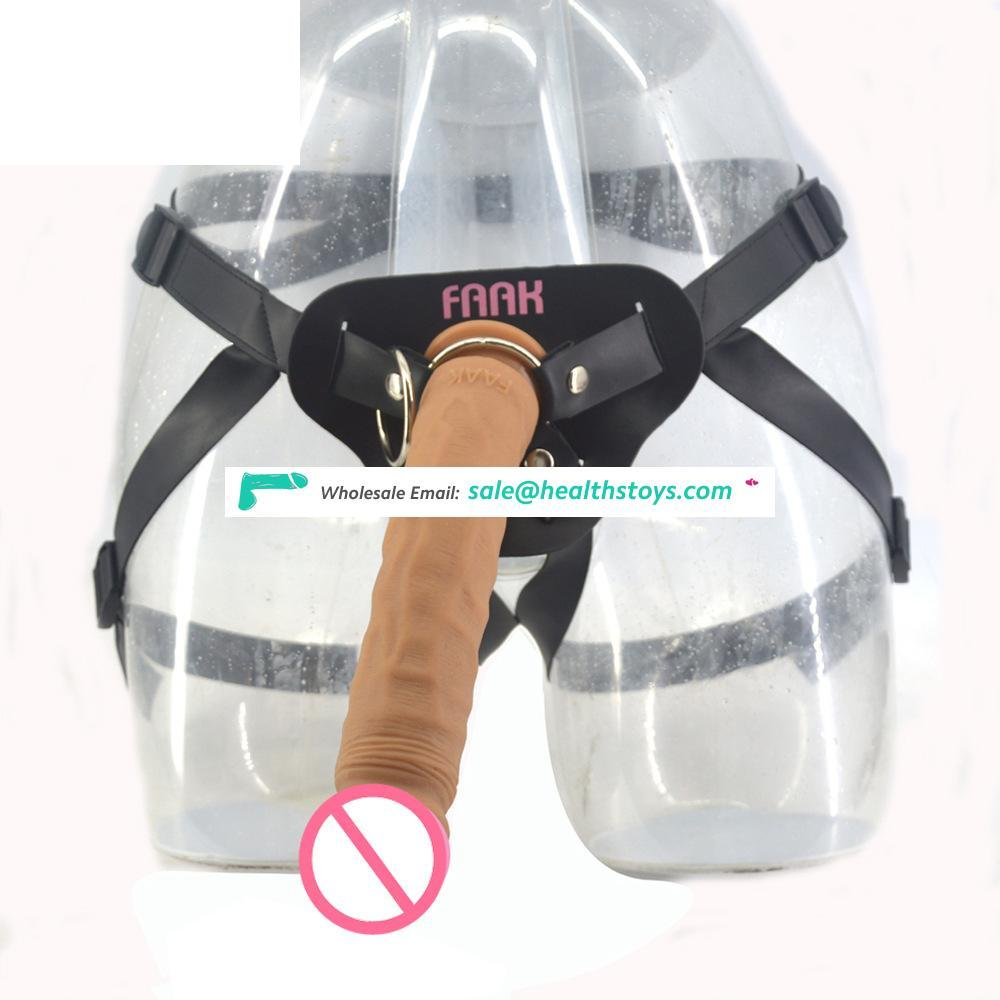 FAAK G101 Unisex Strap Ons 9.5 Inch Ultra Realistic Dildo Super Long Dildo Sex Toys Silicone Dildo with Belt Longest