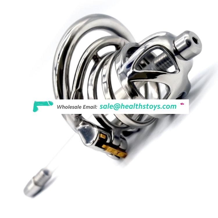 FRRK 57mm 304 stainless steel cock cage penis cage with keyholde Male chastity device with catheter  curved ring chastity cage