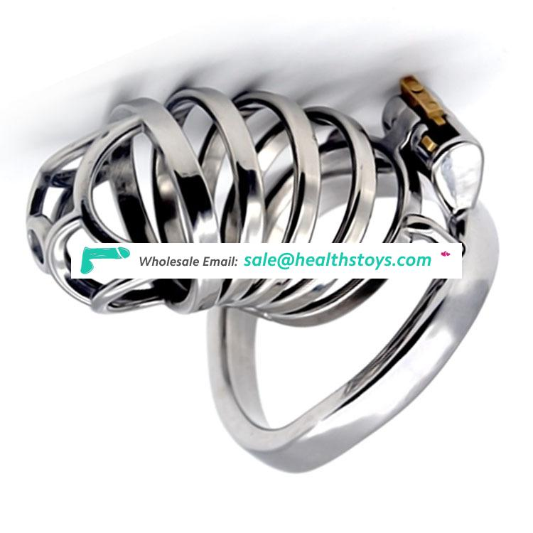 FRRK 74mm chastity lock sm sex toys penis cage with keyholder Male chastity device  chastity cage 304 stainless steel