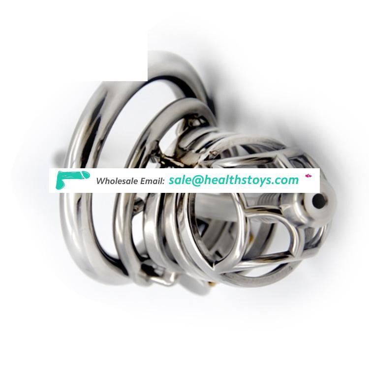 FRRK Bondage Cage Chastity Device Male 304 Stainless Steel Restraint Ring Sex Toy Cage Chastity For Man Anti-off ring