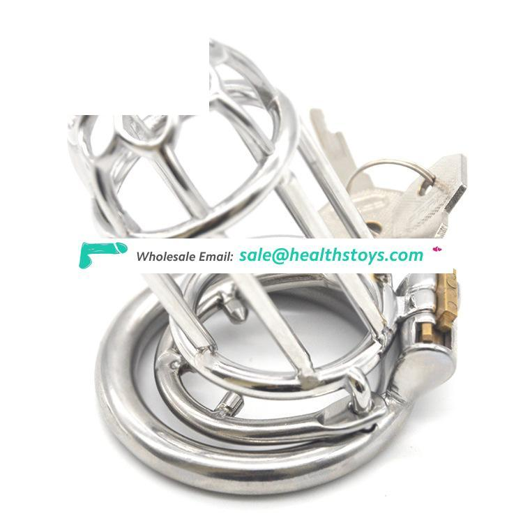 FRRK Sex Toys For Men Penis Sleeve Male Chastity Device Stainless Steel Cock Cage Anti-off ring Cage Chastity For Man