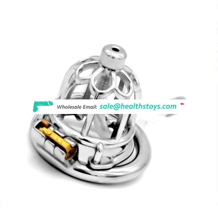 FRRK Stainless Steel Chastity Device cock cages Male Chastity Belt Openwork Cock Cage Metal Penis Ring male sex toys for men