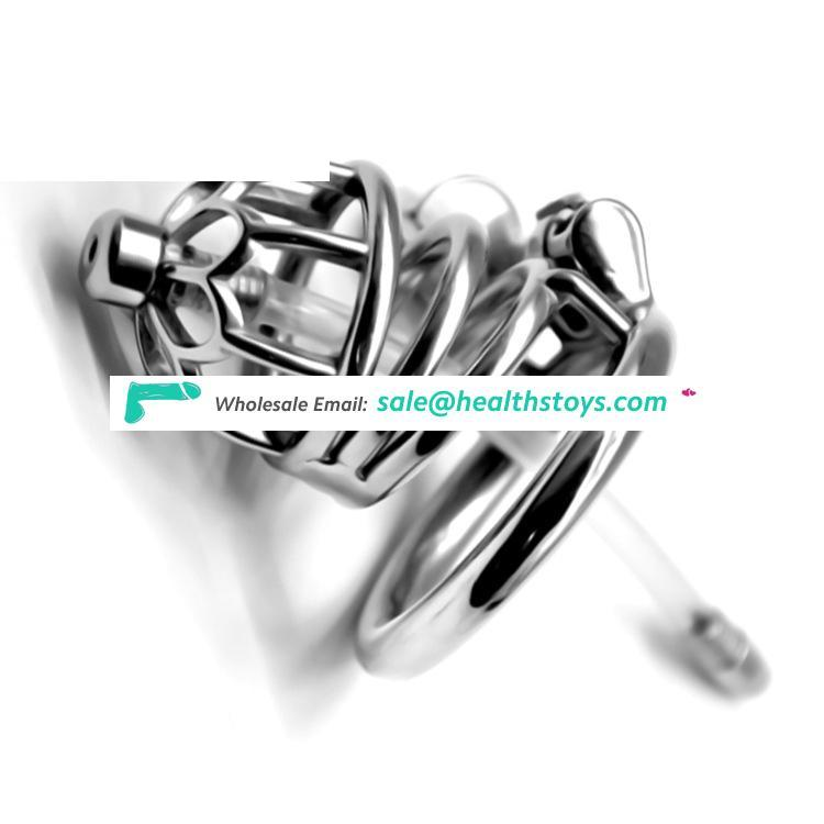 FRRK58mm 304 stainless steel metal chastity lock penis cage for male chastity device with catheter chastity cage