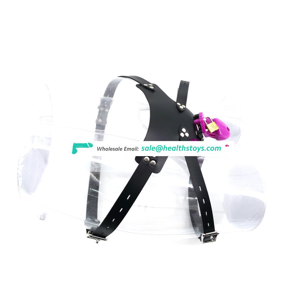 QC3B Purple Plastic penis cage for male soft men chastity device keyholder male chastity cage  belt sex shop chastity belt faak