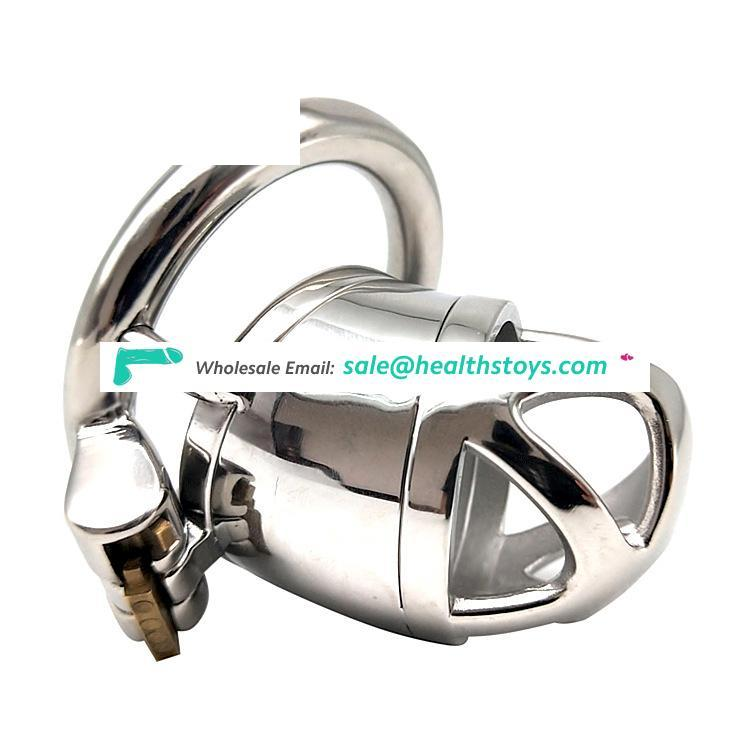 Stainless steel chastity cock cage with penis plug mens metal chastity device