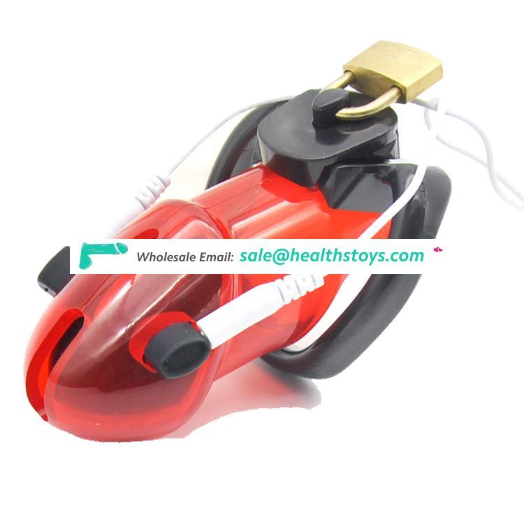 Wholesale Male Polycarbonate Locking 4 Colors choose Electro Chastity Cage Device