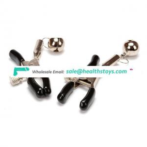 1 Pair Stainless Nipple Clamps Small Bell Strap On Adult Game
