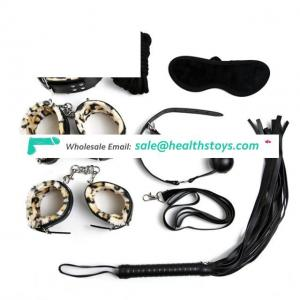7Pcs Leather Fetish Adult Love Game Toy Kit for Couples Women Bondage Restraint Set Handcuff Whip Collar Nipple Clamps Games