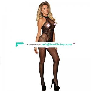 Backless black sexy mature adult bodystocking