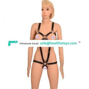 Black Bondage 1 Set PU Restraint Bondage Adult Games Products For Woman