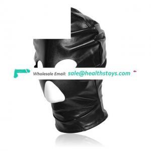 Black Patent Leather Hood Open Mouth And Eye Mask Bondage Hood Fetish Slave Mask Adult Game Toys For Couples Flirting