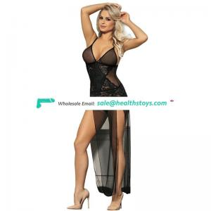 Black Sexy Long Hot Sexy Girls See Through Open Sexy Baby Doll Erotic Lingerie