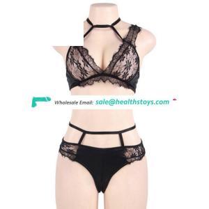 Black lace women sexy transparent bra panty set