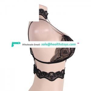 Black seductive strappy choker lace bralette
