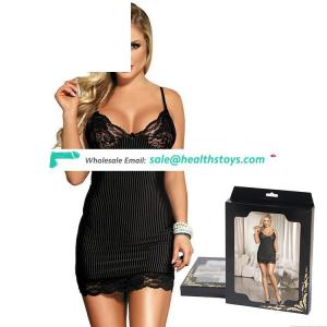 Black see through tube sexy lace mature babydoll lingerie