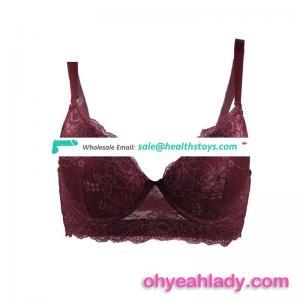 Box package beautiful sexy design wine lace 38 bra size ladies bra