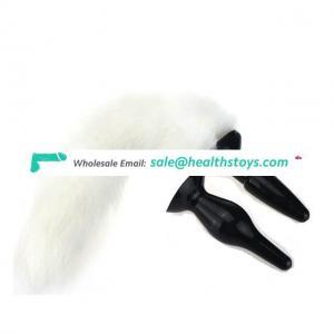 Charming White Fox Tail Anal Plug Prostate Massager Butt Plug