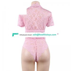 Cheap pink lace transparent sexy bridal bra and panty set