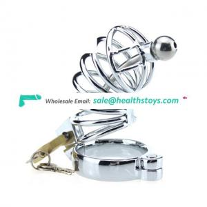 Cock Lock Stainless Steel Lockable Penis Cage Penis Cock Ring Sleeve For Men
