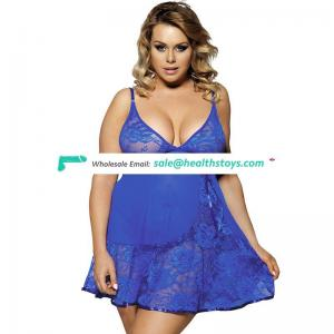 Crocheted lace hollow-out chemise lingerie for fat women babydoll