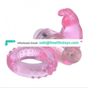 Electric Silicone Vibrating Rabbit Delay Ejaculation Cock Ring For Dildo Adult Exotic Sex Toys