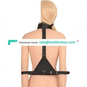 Erotic Bondage Restraint Neck Collar With Slave Hand Cuffs Fetish Wear For Adult Game