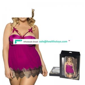 Factory Price Plus size  Purple Eyelash Half Cup Babydoll