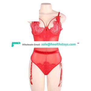 Factory price hot sale three color sexy red lace teddy lingerie