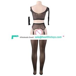 Fast shipping long sleeve transparent crotchless sexy fishnet bodystocking