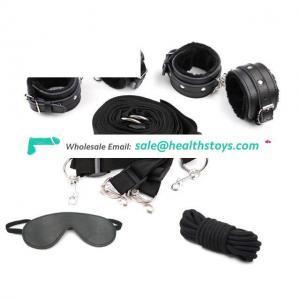 Fetish Bondage Restraints PU Handcuffs and Ankle Cuffs Mask Bondage Line Restraint Set with Adjustable Strap
