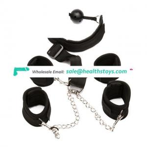 Fetish Open Mouth Gag Bondage Handcuffs Toys With Ankle Cuffs For Women