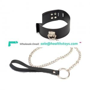 Fetish Toy Bondage Leather Neck Collar Chain Leash Erotic Restraints For Adult