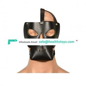 Flirting Leather Bondage Hood With Open Eye And Mouth Fetish Mask Erotic Toys For Couple