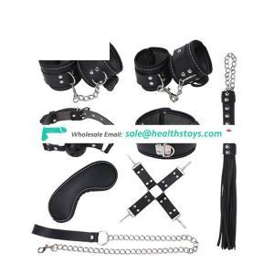 Flirting Slave Bandage Set Handcuffs Gag Collar Spanking Whip Mask BDSM Bondage Kit