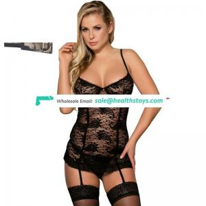 Full Size  Two Color Mature Women Black Sexy Lingerie with Panty Set