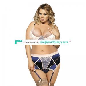 Good quality factory price in stock blue plus size stylish sexy bra panty set