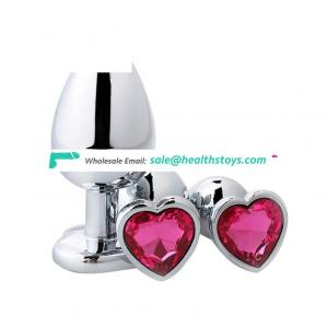 Heart Shape Jewel 3 Sizes Metal Stainless Steel Butt Plug Anal Sex Toys Set